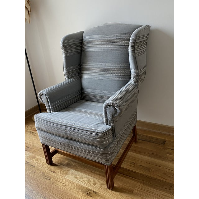 1970s Gray Stripe Wingback Chair For Sale In Richmond - Image 6 of 9