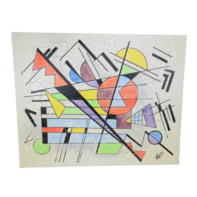 1980s Lee Reynolds Large Abstract Painting in the Style of Wassily Kandinsky For Sale - Image 11 of 11
