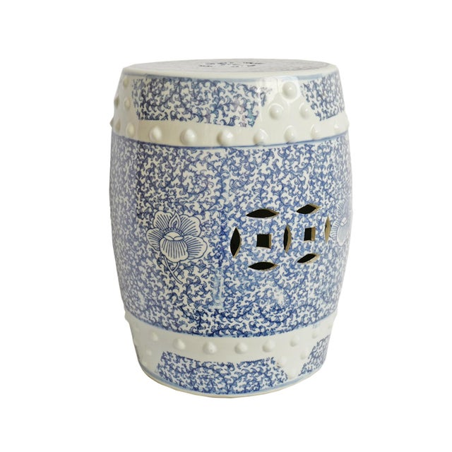 2010s Blue & White Ceramic Garden Stool For Sale - Image 5 of 5