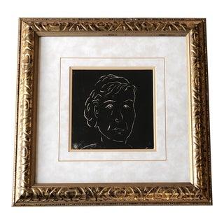 Original Vintage Female Portrait Wood Block Print Matisse Style Ornate Frame For Sale