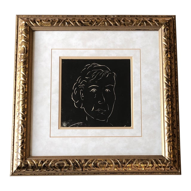 Original Vintage Female Portrait Wood Block Print Matisse Style Ornate Frame For Sale