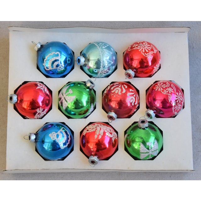 Traditional Vintage Colorful Christmas Ornaments W/Box - Set of 10 For Sale - Image 3 of 8