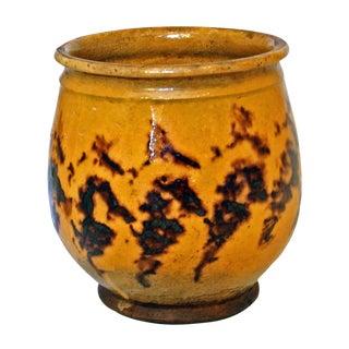 19th Century Antique French Tortoise Glaze Confit Pot For Sale