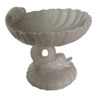 Italian Blanc Ceramic Dolphin Shell Pedestal Dish