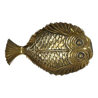 Antique English Brass Fish Coin Dish