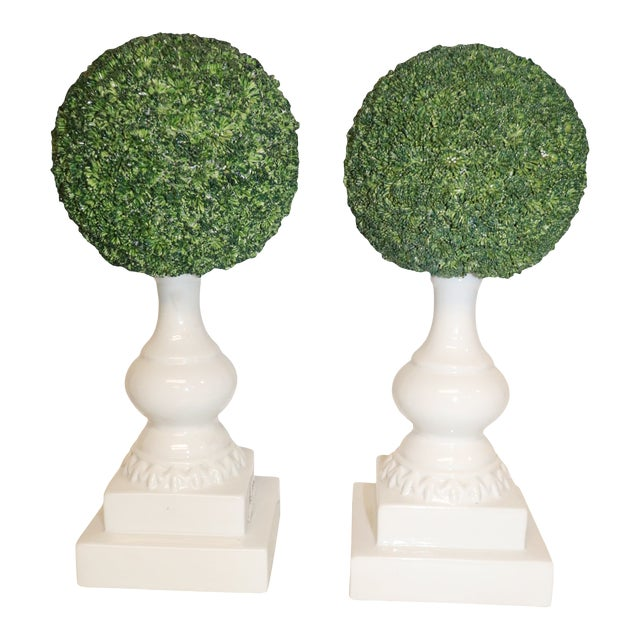 1950s Vintage Porcelain Topiaries - a Pair For Sale