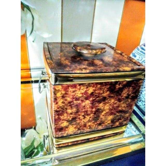 Metal Vintage Kraftware Faux Tortoiseshell Vinyl Square Ice Bucket For Sale - Image 7 of 7