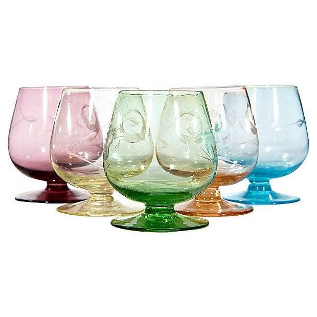 Multicolor Floral Etched Shot Glasses - Set of - Image 1 of 3