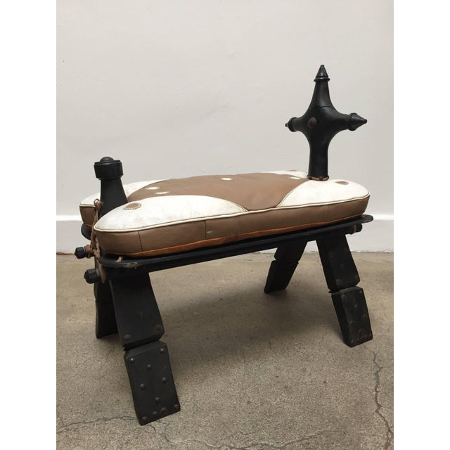Vintage Moroccan Tuareg Camel Wooden Saddle Stool With Leather Cushion For Sale - Image 13 of 13