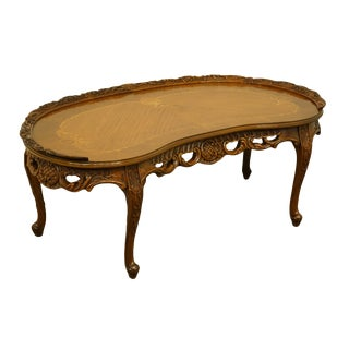 """1920's Vintage Louis XVI French Regency Ornate Carved Kidney 44"""" Coffee Table For Sale"""
