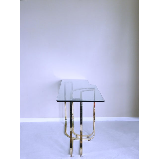 1980s Hollywood Regency Sculptural Brass Console Table For Sale In Chicago - Image 6 of 7