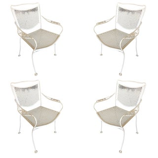 Woodard Company Mesh Outdoor/Patio Chair With Leaf Pattern Arms, Set of Four For Sale