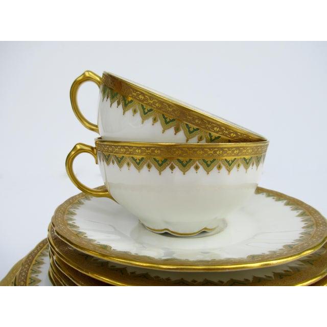 "1930s C1930s French Art Deco Limoges ""Elite Works"" 24k Gilt Gold & Green Rimmed Asst. Dishes & Cups -Set of 11 For Sale - Image 5 of 13"