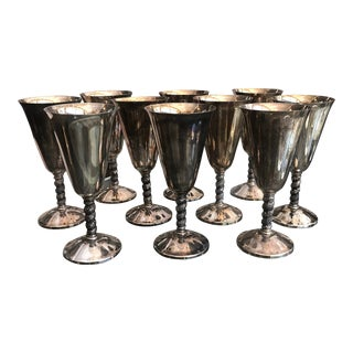 Vintage Silver Roma's Grapevine Goblets - Set of 10 For Sale