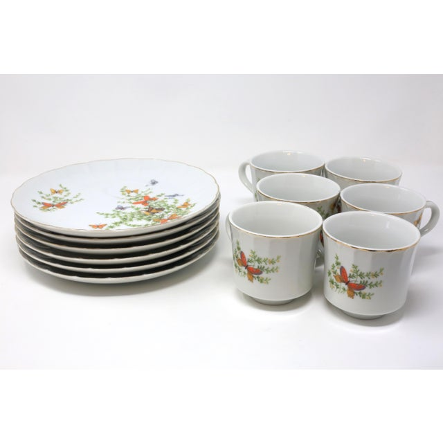 "Ceramic Vintage ""Ecstasy"" Butterflies Snack Plates and Cups by Shafford - Set of 12 For Sale - Image 7 of 11"