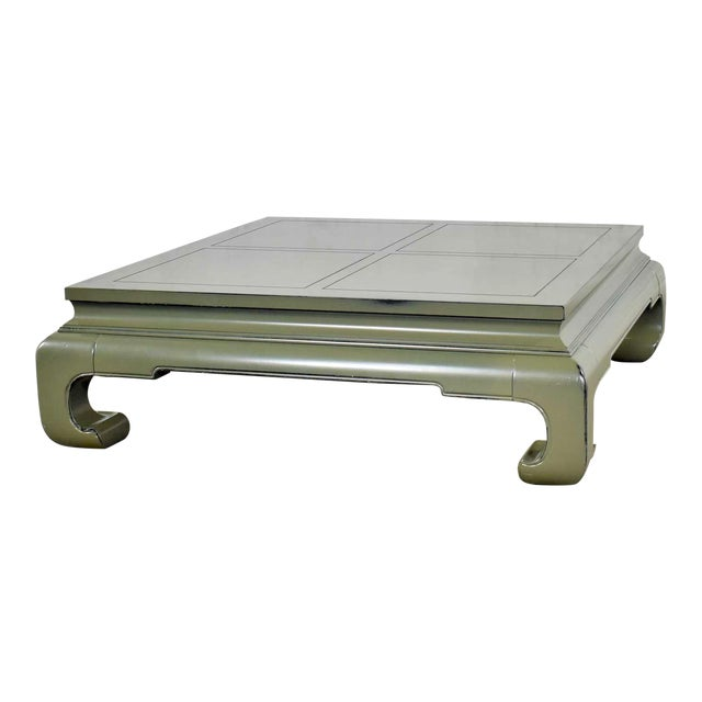 Monumental Square Asian Ming Style Lacquered Coffee Table in Sage Green For Sale