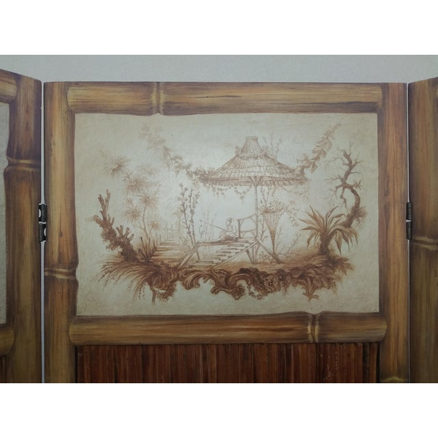 Chinoiserie Picturesque Tropical Double Sided Hand Painted Room Divider For Sale - Image 11 of 13