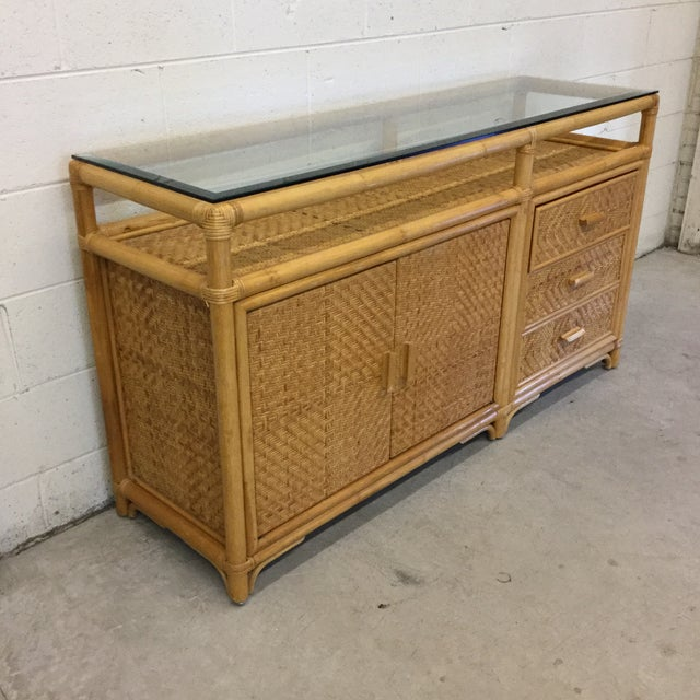 Boho Chic Vintage Bamboo & Wicker Floating Glass Top Credenza Buffet For Sale - Image 3 of 12