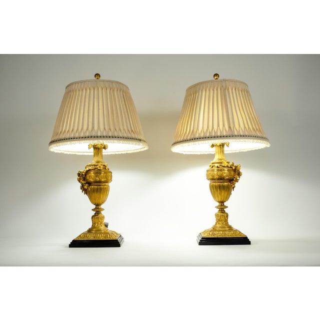 Louis XVI Style Doré Bronze Table Lamps - a Pair For Sale - Image 10 of 13