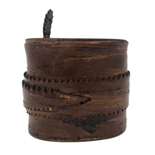 Antique Birch Bark Lidded Box With Leather Pull For Sale