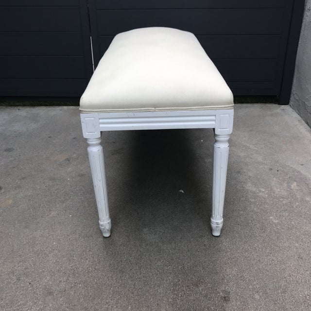 Louis XV Style Linen Upholstered Bench For Sale - Image 4 of 11