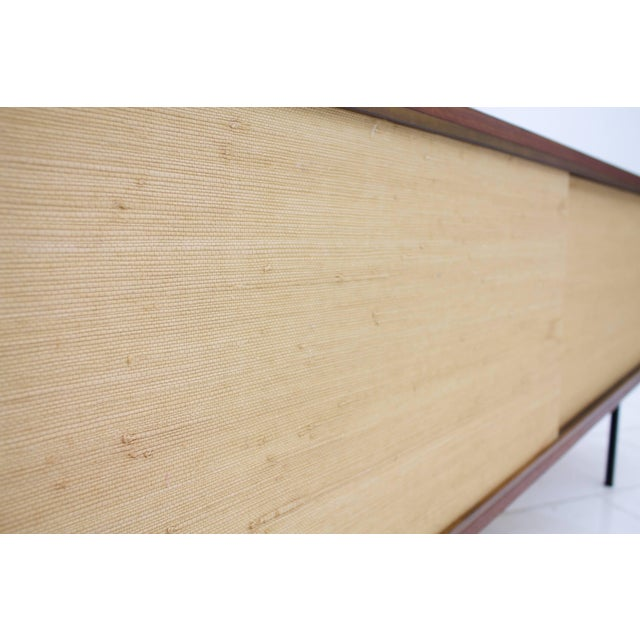 Behr Teak Sideboard With Seagrass Sliding Doors by Dieter Waeckerlin, 1950s For Sale - Image 4 of 8