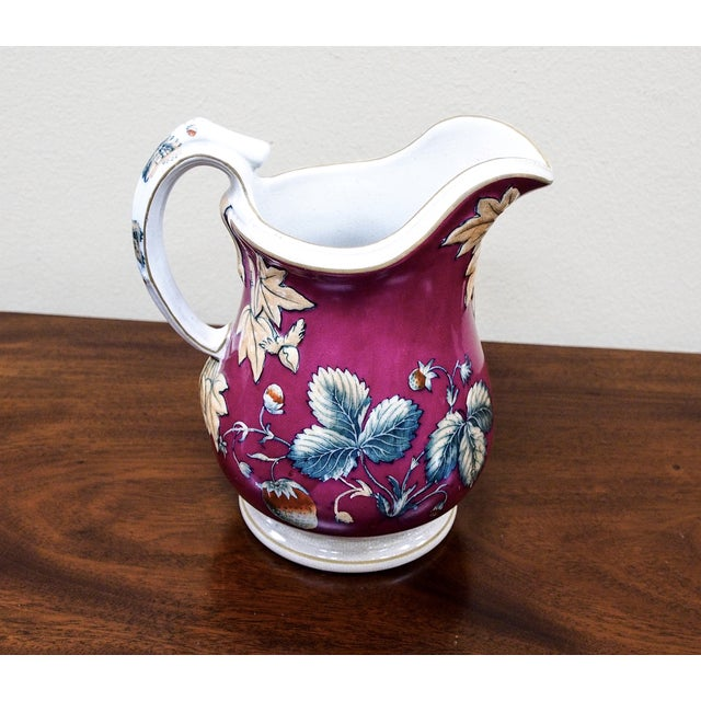 19th Century Davenport Pottery Strawberry Pitcher - Image 3 of 7