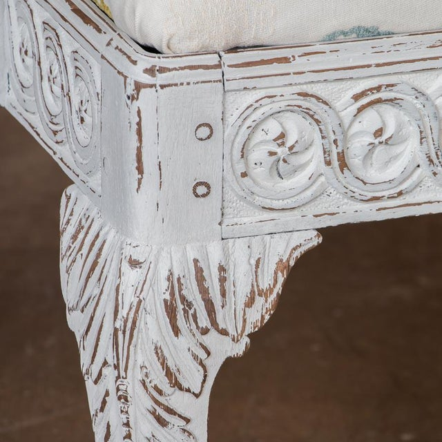 Fabric Early 19th Century Antique Light Gray Painted Swedish Gustavian Bench For Sale - Image 7 of 10
