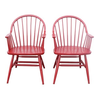 Vintage Mid Century Candy Red Arm Chairs- A Pair For Sale