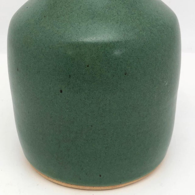 Vintage Art Pottery Vase With Long Neck and Satin Green Glaze For Sale - Image 10 of 13