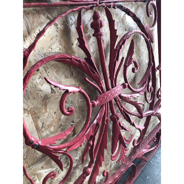 Iron 19th Century Vintage French Wrought Iron Grille For Sale - Image 7 of 8