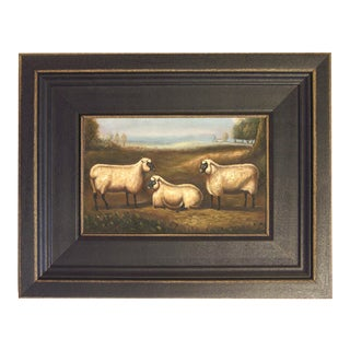 Three Prize Sheep Framed Oil Painting Reproduction Print on Canvas For Sale
