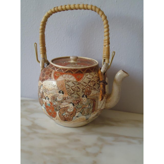 Antique Collection Pottery Porcelain Ceramic Multicolor Cloisonne Handleless Teapot - Japan The marking is on the bottom...