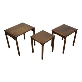 Lovely Mid-Century Walnut Stacking Tables S\3 For Sale