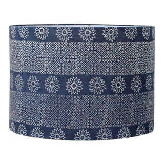 Boho Chic Blue Geometric Floral Hmong Lamp Shade