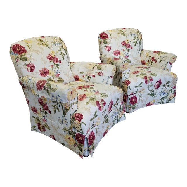 Ethan Allen Floral Upholstered Armchairs #20-7555- a Pair - Image 1 of 11