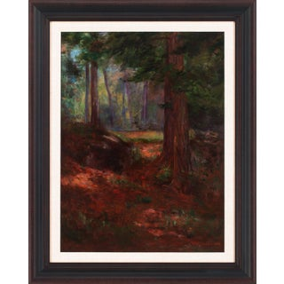 """1909 """"Untitled Forest Landscape"""" Oil Painting on Canvas by Alfred Jansson, Framed For Sale"""