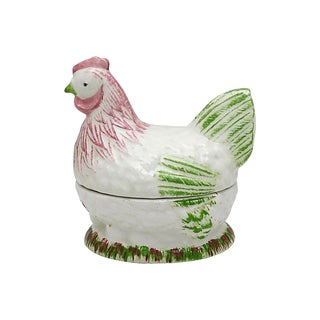 Vintage French Majolica Hen Patè Tureen For Sale