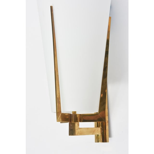 Brass Set of Four Large Stilnovo Brass and Frosted Glass Wall Lights, Italy For Sale - Image 7 of 9