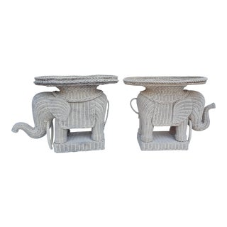 Italian Woven Rattan Elephant Side Tables - A Pair