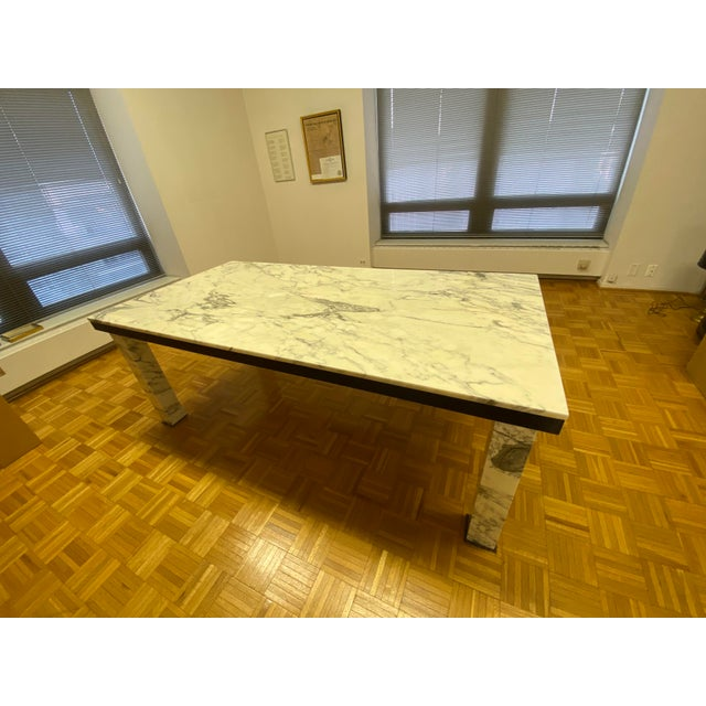 1970s Vintage Calacatta Marble Dining Table For Sale - Image 9 of 13