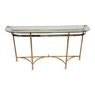 Mid 20th Century LaBarge Italian Brass and Glass Sofa Table For Sale
