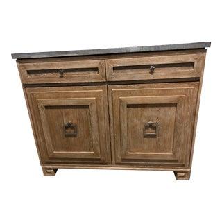 1980s Vintage Metal Top Wood Storage Cabinet For Sale