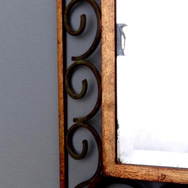Art Deco Gilt Iron Scroll Framed Rectangular Mirror For Sale In Detroit - Image 6 of 7