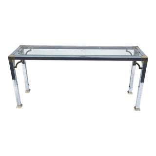 Mid-Century Modern Chrome and Glass Console Table For Sale