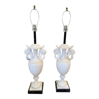 Monumental Marble Lamps - a Pair For Sale