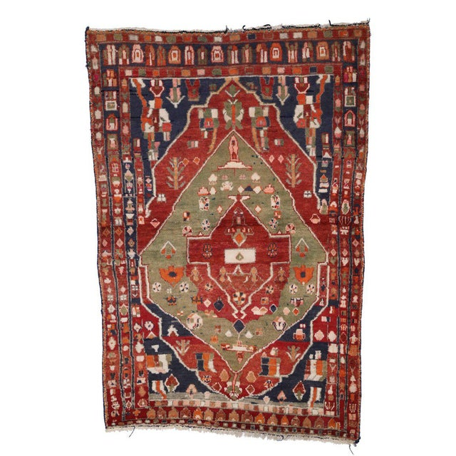 Vintage Persian Bakhtiari Rug with Modern Tribal Style For Sale In Dallas - Image 6 of 8