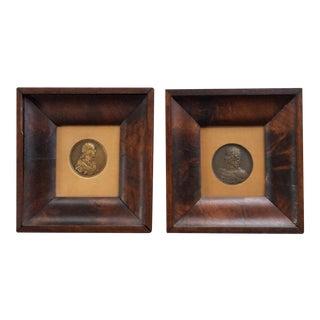 Antique Framed Framed Bronze Medallions, Numismatics - a Pair For Sale