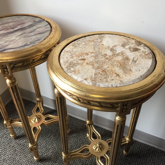 Neoclassical Style Gilt Side Tables - A Pair - Image 3 of 7