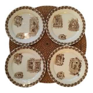 French Art Nouveau Majolica Plates - Set of 4 For Sale